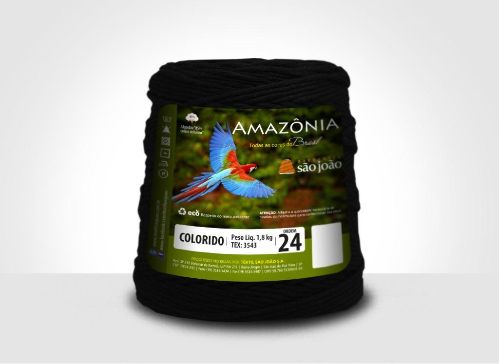 Barbantes para tricô e crochê Barbante Amazônia 24 Fios Preto