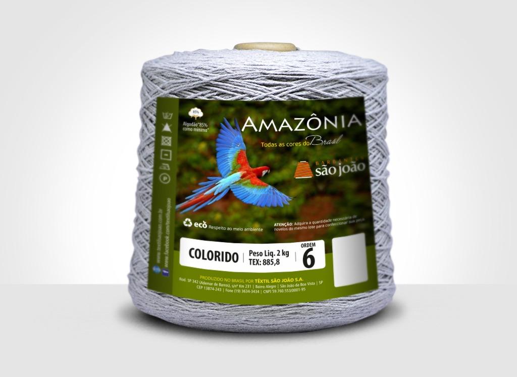 Barbantes para tricô e crochê Barbante Amazônia 2kg Cinza Mescla