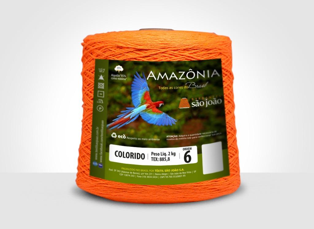 Barbantes para tricô e crochê Barbante Amazônia 2kg Laranja Neon