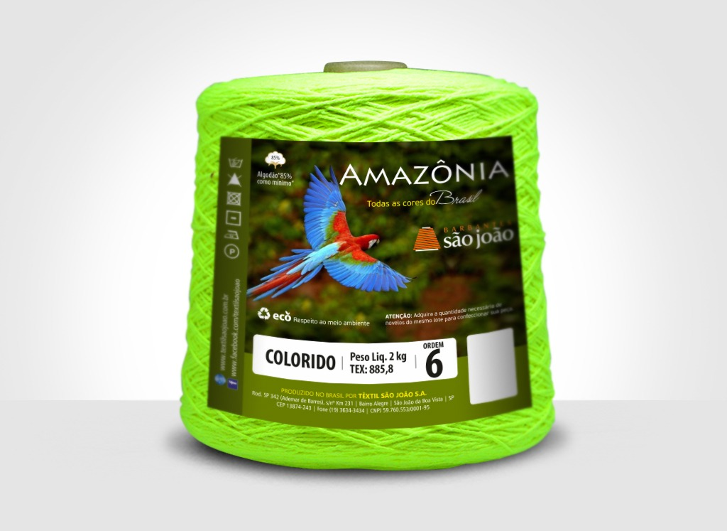 Barbantes para tricô e crochê Barbante Amazônia 2kg Verde Neon