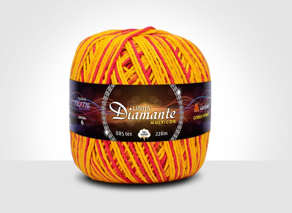 Barbantes para tricô e crochê Linha Diamante Multicor 12