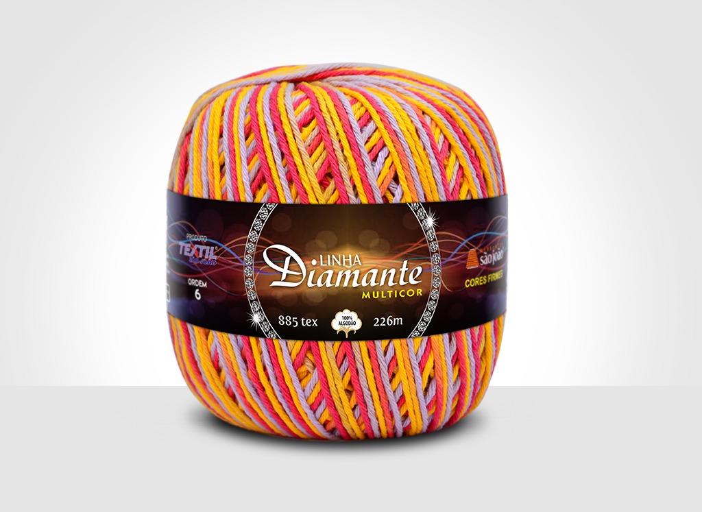Barbantes para tricô e crochê Linha Diamante Multicor 18