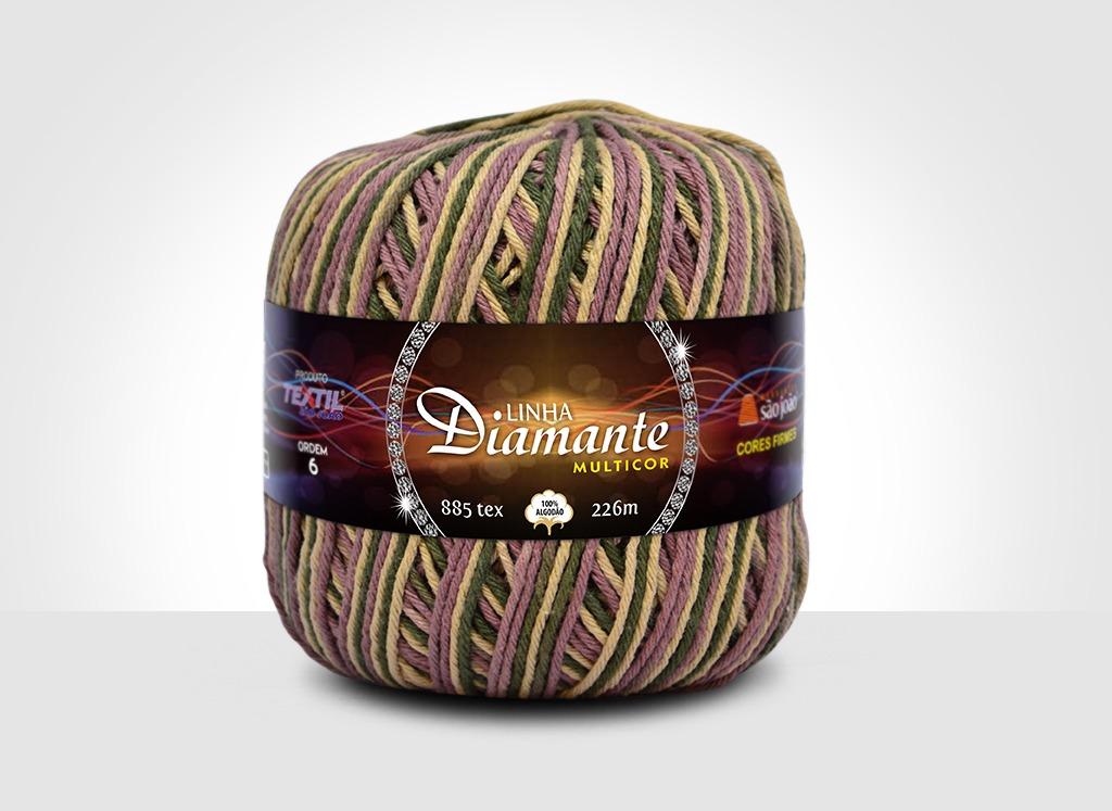 Barbantes para tricô e crochê Linha Diamante Multicor 9