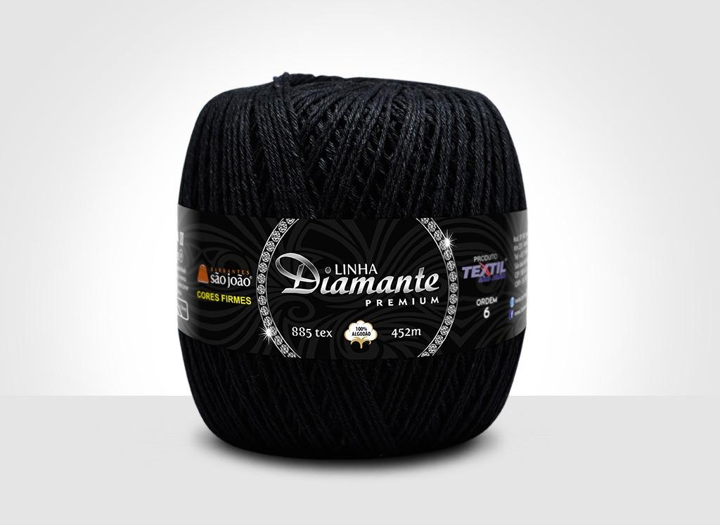 Barbantes para tricô e crochê Linha Diamante Premium Preto
