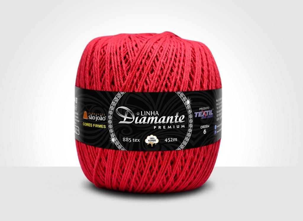 Barbantes para tricô e crochê Linha Diamante Premium Vermelho
