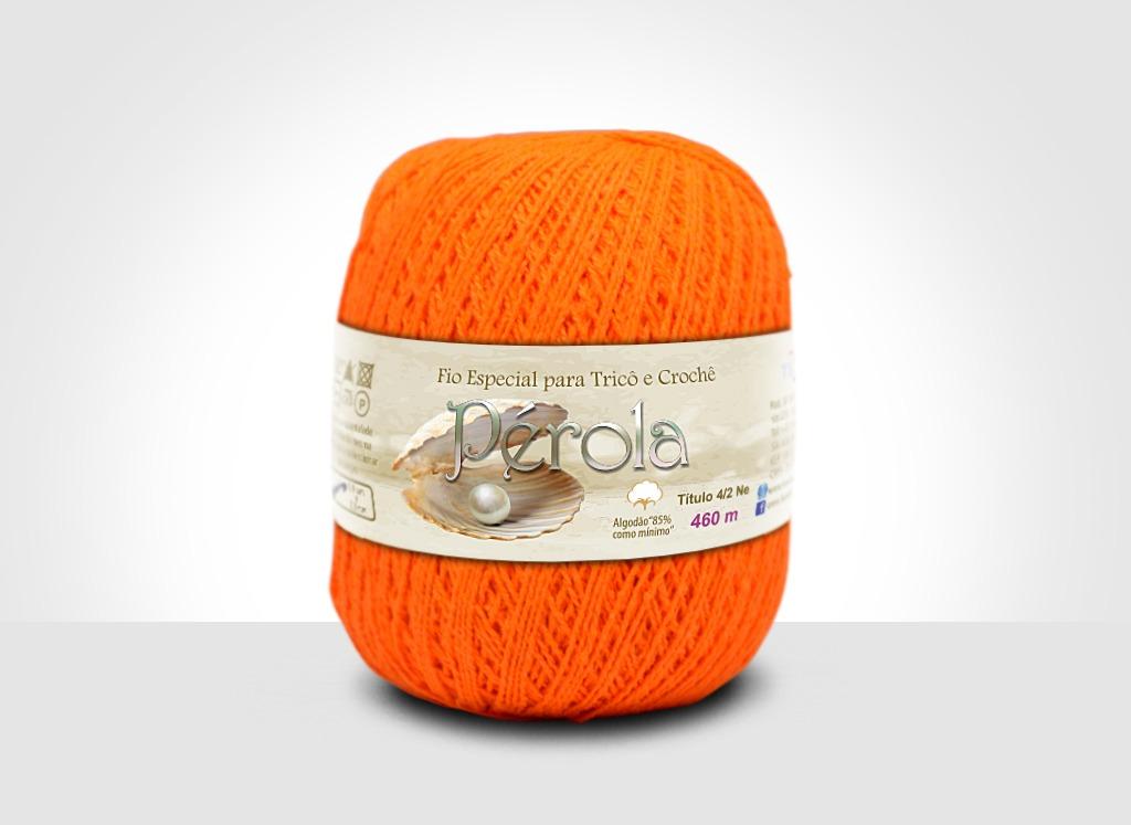 Linhas para tricô e crochê Linha Pérola Laranja Neon