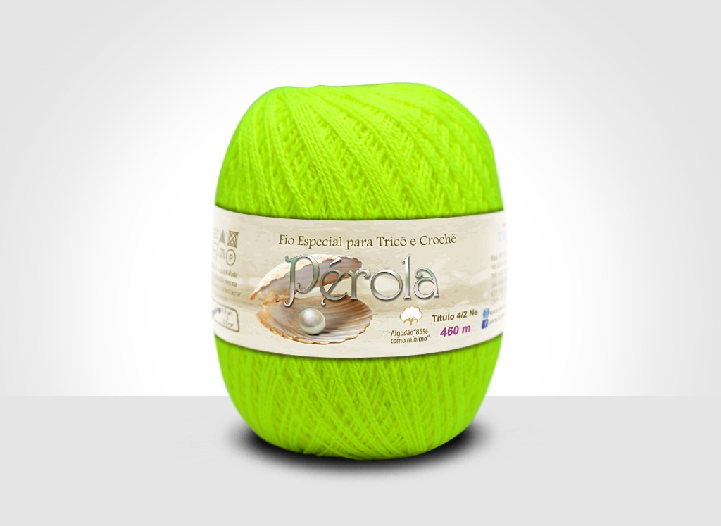 Linhas para tricô e crochê Linha Pérola Limão Neon