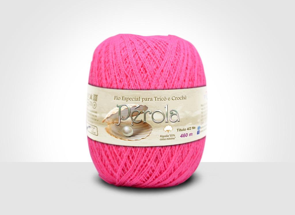 Linhas para tricô e crochê Linha Pérola Rosa Neon