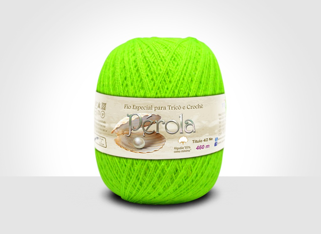 Linhas para tricô e crochê Linha Pérola Verde Neon