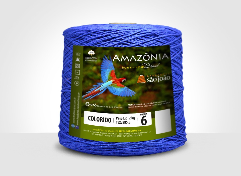 Barbantes para tricô e crochê Barbante Amazônia 2kg Azul Royal