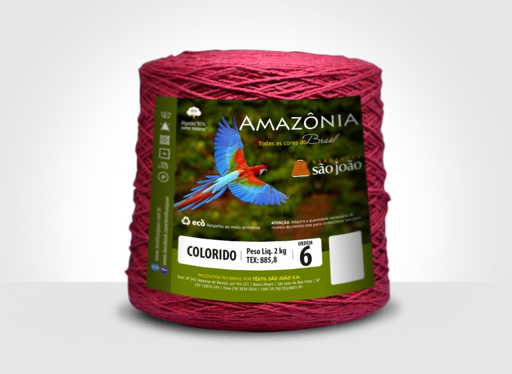 Barbantes para tricô e crochê Barbante Amazônia 2kg Bordô